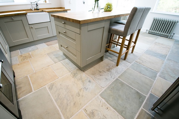 Reclaimed Stone Floor laid in a kitchen