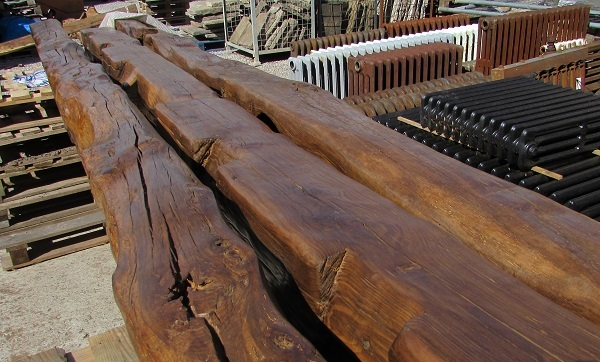 Reclaimed Oak Beams at Ribble Reclamation, prior to being fitted